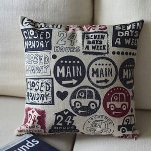 Cartoon Cotton Decorative Pillow Cover 1
