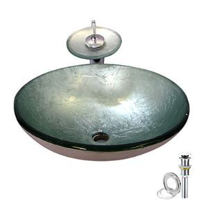 Silver Tempered glass Vessel Sink With Waterfall Faucet ,Pop - Up drain and Mounting Ring