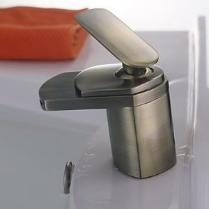 Antique Brass Finish Waterfall Bathroom Sink Faucet