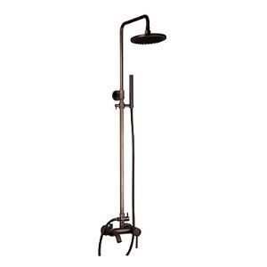 (In Stock) Antique Brass Tub Shower Faucet with 8 inch Shower Head + Hand Shower