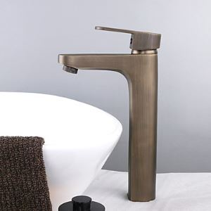 Single Handle Centerset Bathroom Sink Faucet Antique Brass Finish(Tall)