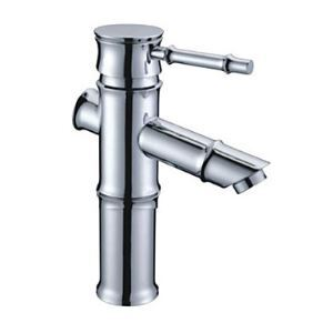Chrome Finish Brass Bathroom Sink Faucet - Bamboo Shape Design