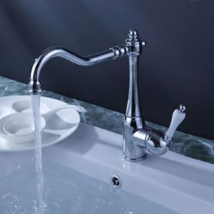 Chrome Finish Single Handle Brass Kitchen Faucet (White Handle)