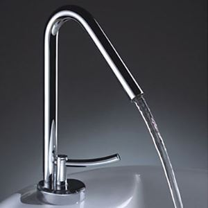 Single Handle Solid Brass Contemporary Bathroom Sink Faucet - Chrome Finish