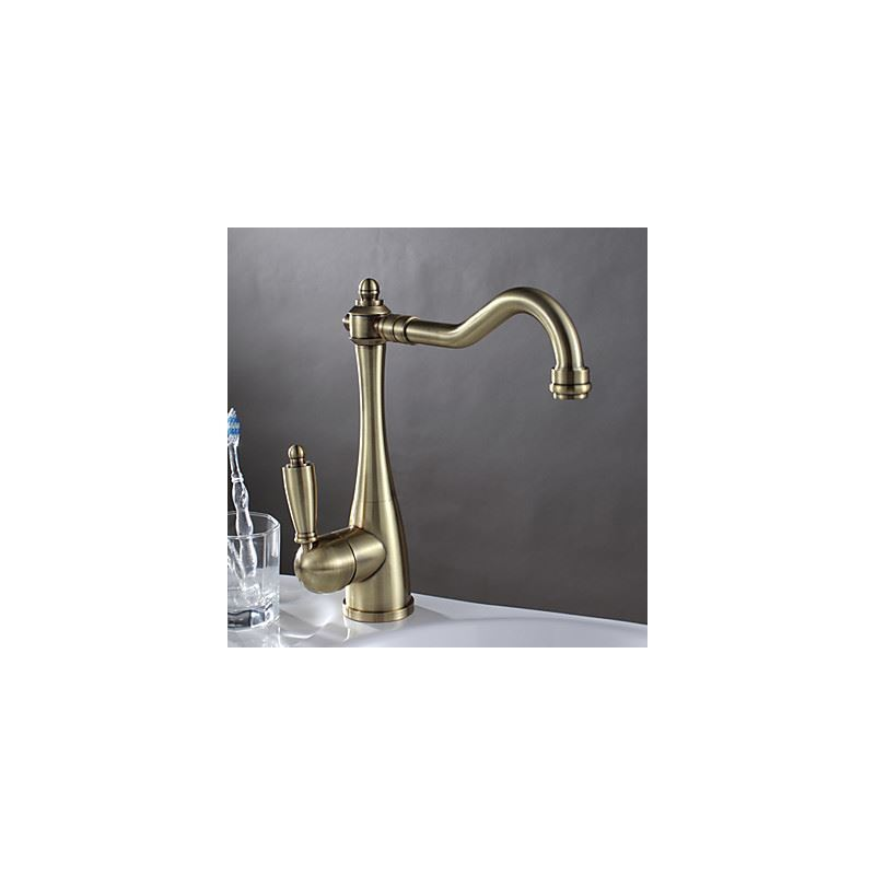 antique brass finish kitchen faucet