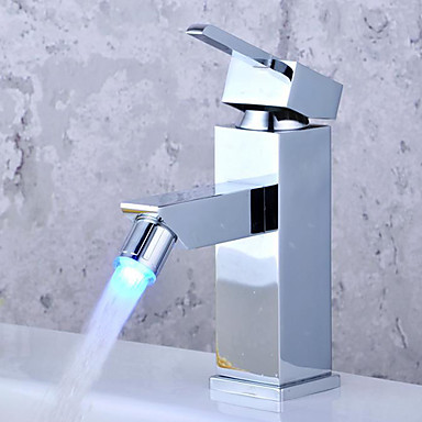 color changing led bathroom sink faucet chrome finish