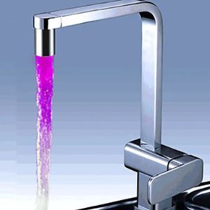 Chrome Finish Kitchen Faucet with Color Changing LED Light