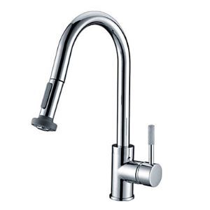 Contemporary Pull Down Kitchen Faucet - Chrome Finish