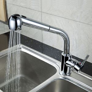 Contemporary Brass Pull Out Kitchen Faucet - Chrome Finish