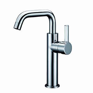 Single Handle Contemporary Brass Chrome Bathroom Sink Faucet - Chrome Finish (Tall)