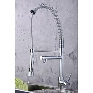 Single Handle Solid Brass Spring Kitchen Faucet with Two Spouts (Chrome Finish)