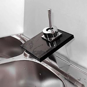 Waterfall Bathroom Sink Faucet with Black Glass Spout