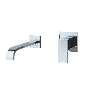 Contemporary Wall Mount Bathroom Sink Faucet - Chrome Finish