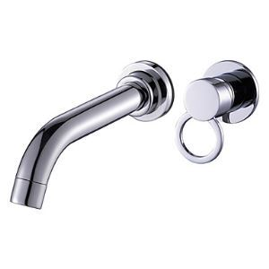 Contemporary Solid Brass Bathroom Sink Faucet (Wall Mount)