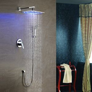 Solid Brass LED Shower Faucet with 8 inch Shower Head + Hand Shower
