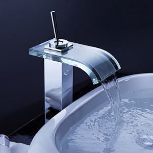 Contemporary Waterfall Bathroom Sink Faucet with Glass Spout and Pop up Waste