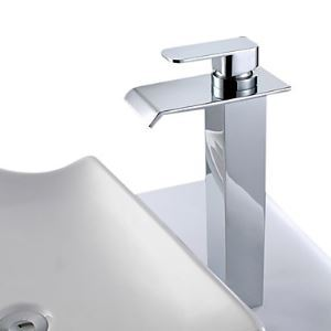 Single Handle Modern Solid Brass Waterfall Bathroom Sink Faucet (Tall)