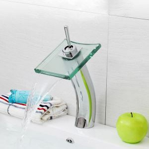 Contemporary Waterfall Bathroom Sink Faucet (Tall)