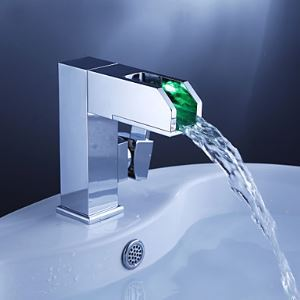 Color Changing LED Waterfall Bathroom Sink Faucet - Blade Series