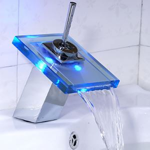 (In Stock)Color Changing LED Bathroom Sink Faucet (Waterfall)