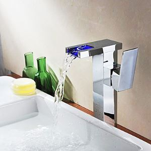 Color Changing LED Waterfall Bathroom Sink Faucet Single Handle Basin Tap(Tall)-Chrome Finish