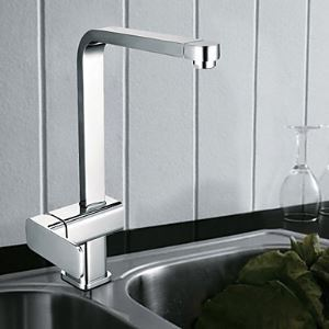 Single Handle Contemporary Solid Brass Kictchen Faucet(Chrome Finish)