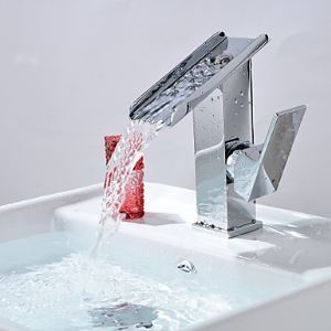 Single Handle Contemporary Solid Brass Waterfall Bathroom Sink Faucet Chrome  Finish
