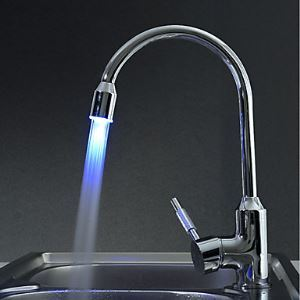 Contemporary Brass Kitchen Faucet with Color Changing LED Light