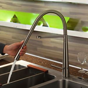 Contemporary Brass Kitchen Faucet - Nickel Brushed Finish