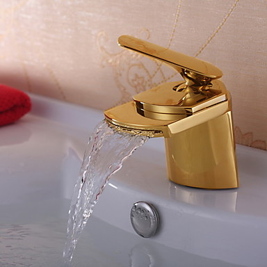 Ti Pvd Finish Solid Brass Waterfall Bathroom Sink Faucet