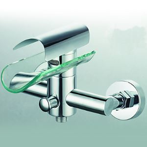Contemporary Brass Tub Faucet with Glass Spout (Wall Mount)