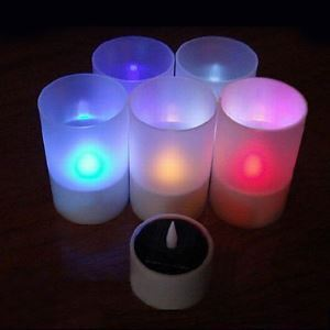 Solar Powered LED Rechargeable Single Color Flameless Lights Candle