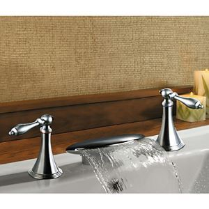 Solid Brass Chrome Finish Two Handle Waterfall Bathroom Sink Faucet