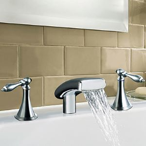 Solid Brass Two Handle Waterfall Bathroom Sink Faucet-Chrome Finish