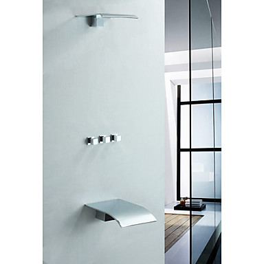 Faucets Shower Faucets Solid Brass Wall Mount Tub Shower Faucet With Rain