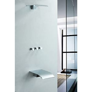 Solid Brass Wall Mount Tub Shower Faucet with Rain Shower Head