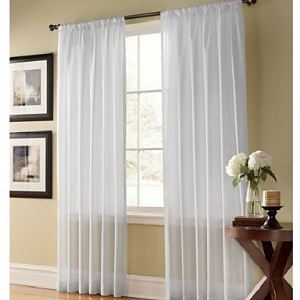 ( One Panel ) Solid Contemporary White Sheer Curtains