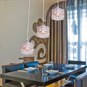 Stainless Crystal Pendant Light Gein Pattern with 3 Lights