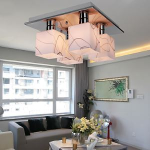 Stainless Steel Ceiling Light with 4 Lights in Cube Shape