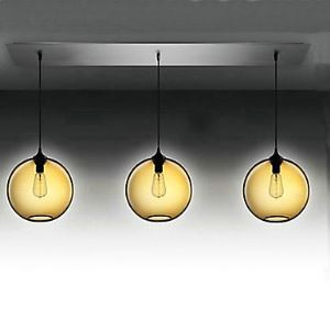 3 - Light Modern Glass Pendant Lights in Transparent Brown Bubble Design Dining Room Lighting Ideas Living Room Bedroom Lighting