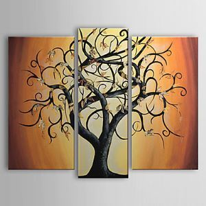 Hand-painted A Big Tree,abstract Oil Painting without Frame - Set of 3