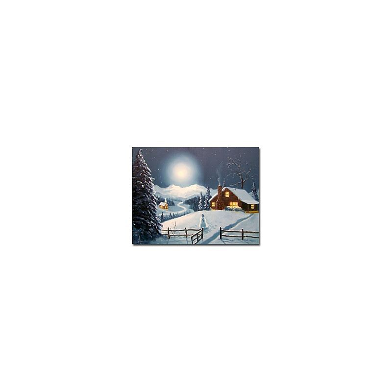 Hand-painted Christmas Oil Painting with Stretched Frame