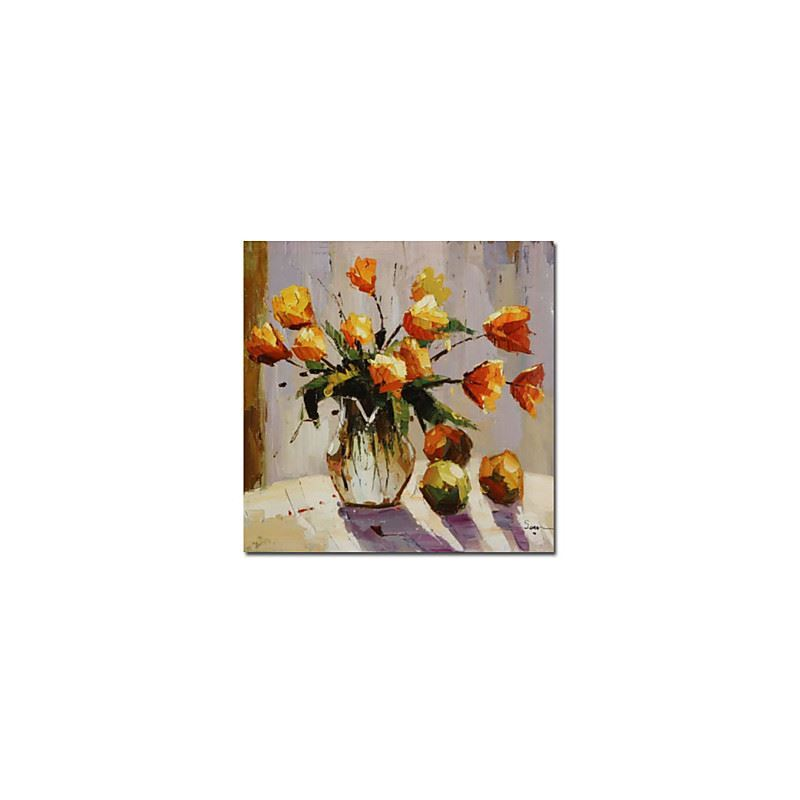 Hand-painted Floral Oil Painting with Stretched Frame