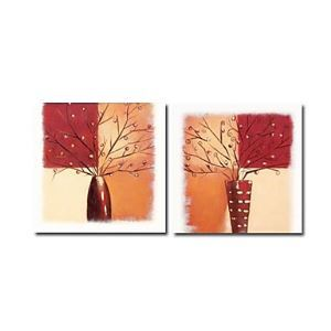 Hand-painted Floral Oil Painting without Frame - Set of 2