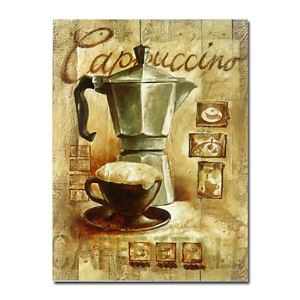 Hand-painted Coffee Still Life Oil Painting with Stretched Frame