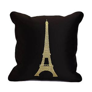 Stylish Eiffel Embroidery Decorative Pillow Cover