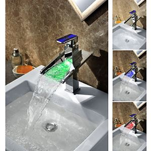 Third Gear Cartridge Water-saving Color Changing LED Waterfall Bathroom Sink Faucet with Colorful Handle