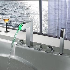 Color Changing LED Tub Faucet with Hand Shower - Blade Series