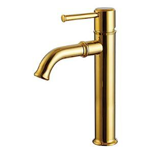 Gold Coloured Sink Tap Ti-PVD Finish Solid Brass Bathroom Sink Faucet (Tall)