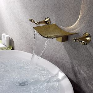 Ti-PVD Finish Wall Mount Widespread Bathroom Sink Faucet